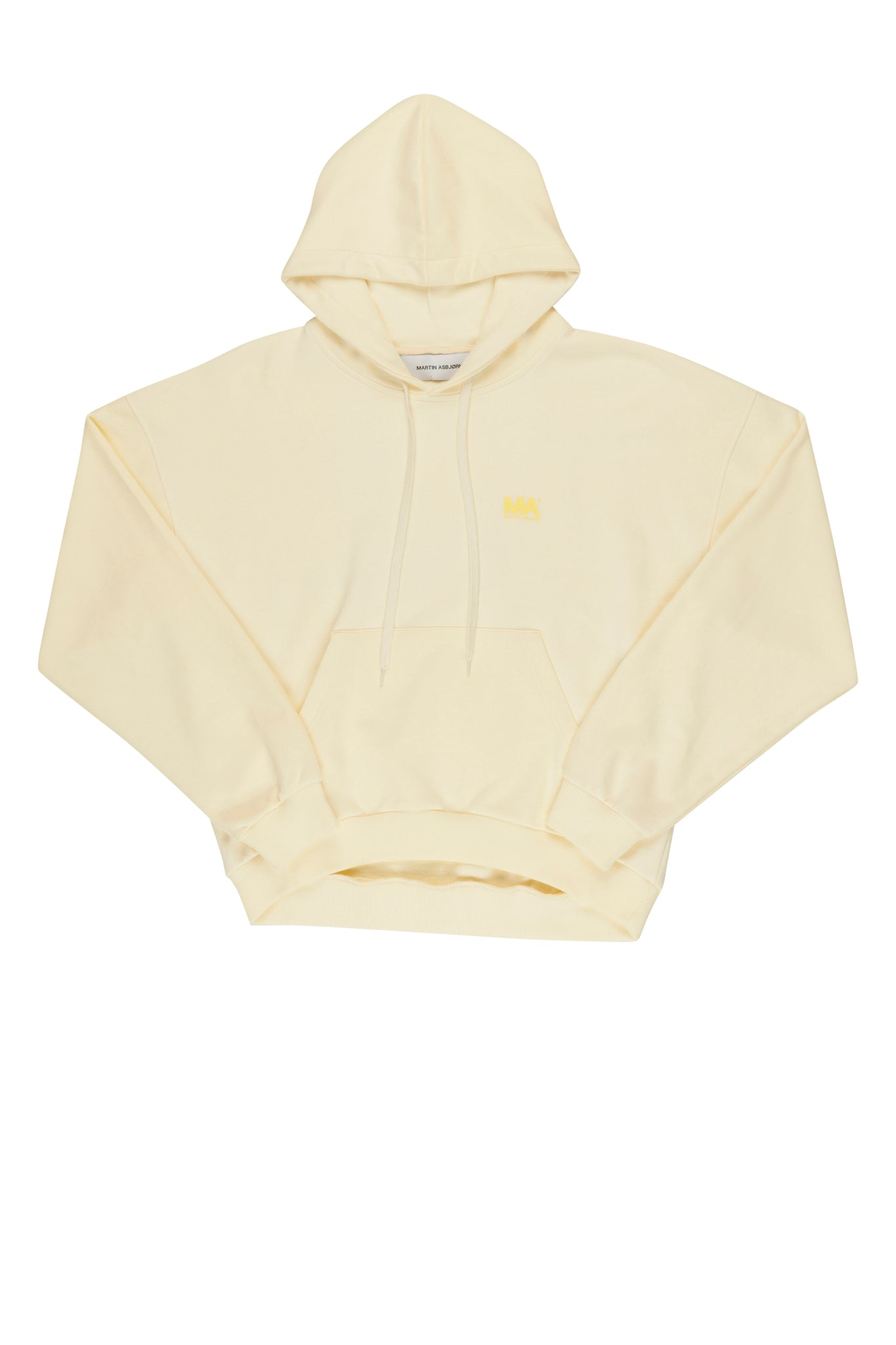 martin Asbjørn cropped offwhite hoodie with print for men and women