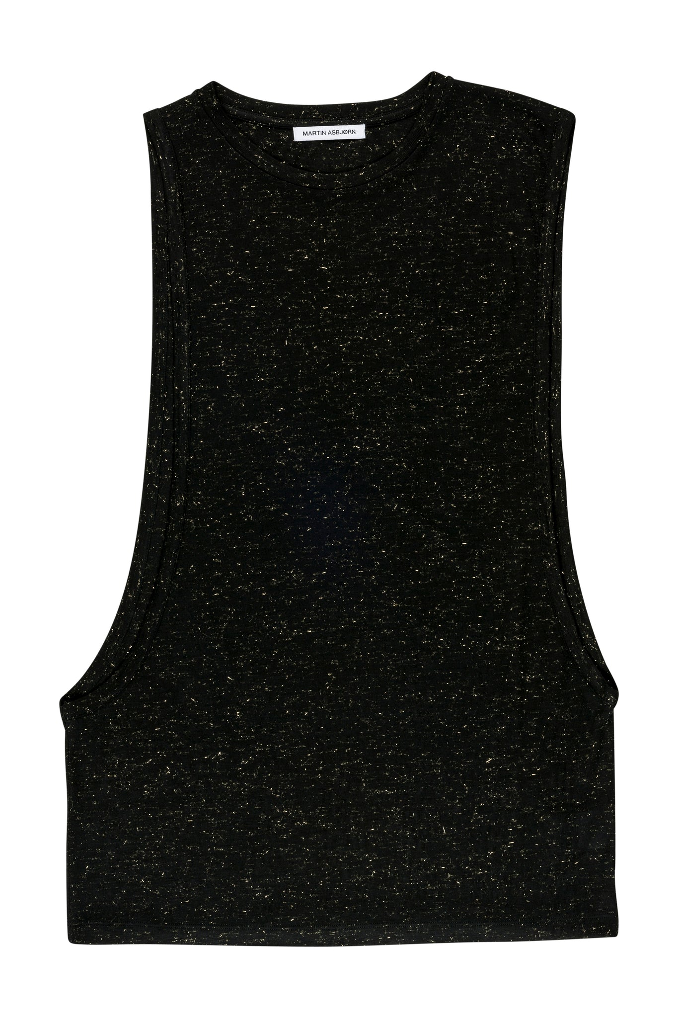 martin asbjørn ma tank top menswear black gold lurex