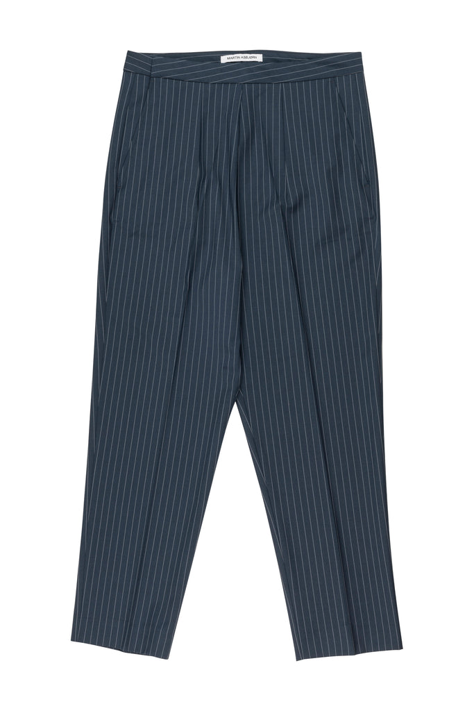 David Cropped Trousers / Navy Pinstripe