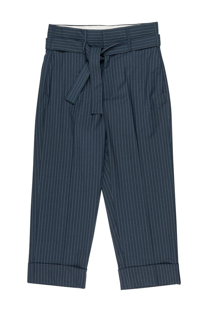 David Tie-Up Trousers / Navy Pinstripe