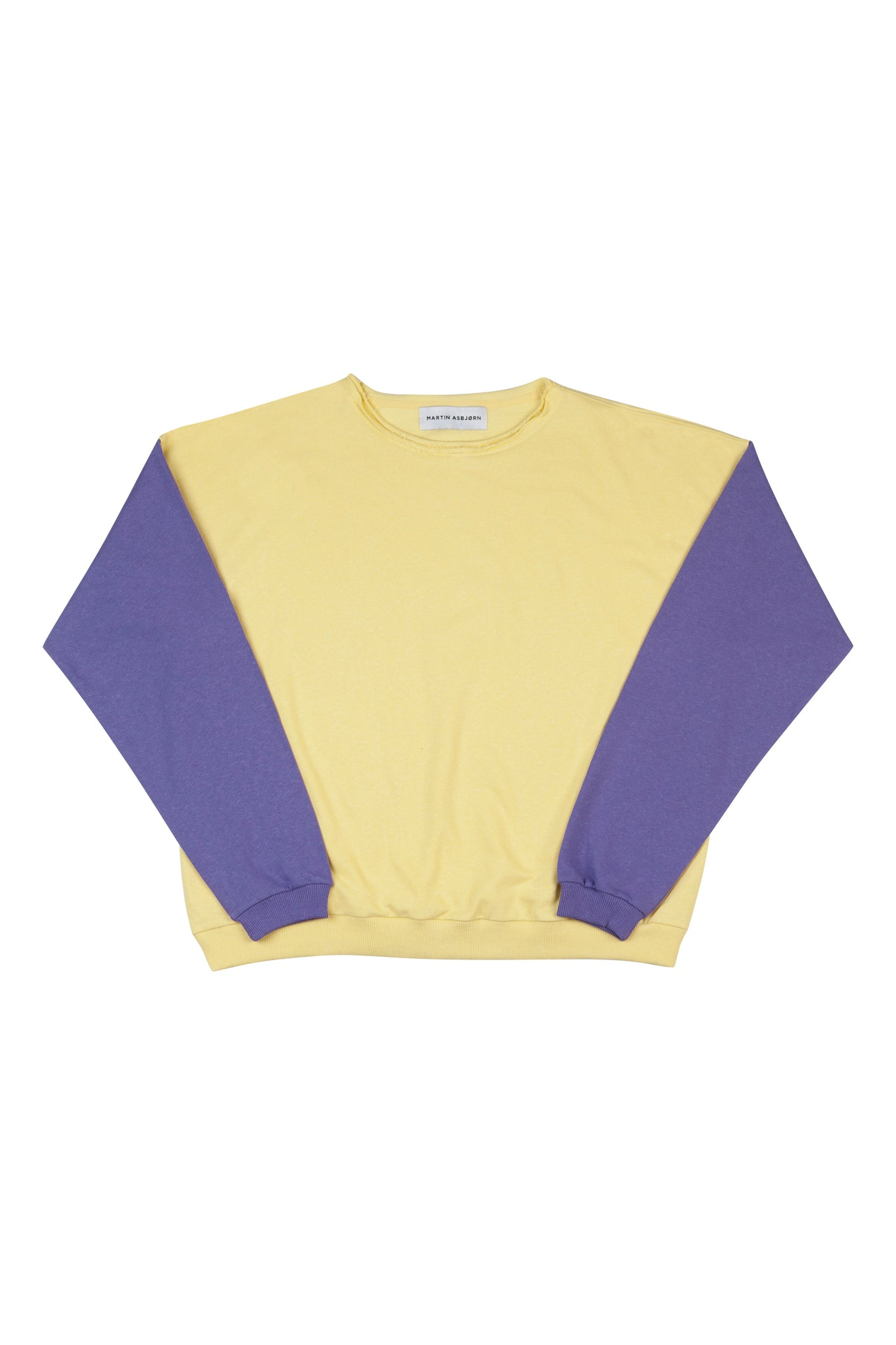 Julian Oversized Jersey Sweatshirt in Banana Yellow/ Lilac from Danish Menswear Designer Martin Asbjørn
