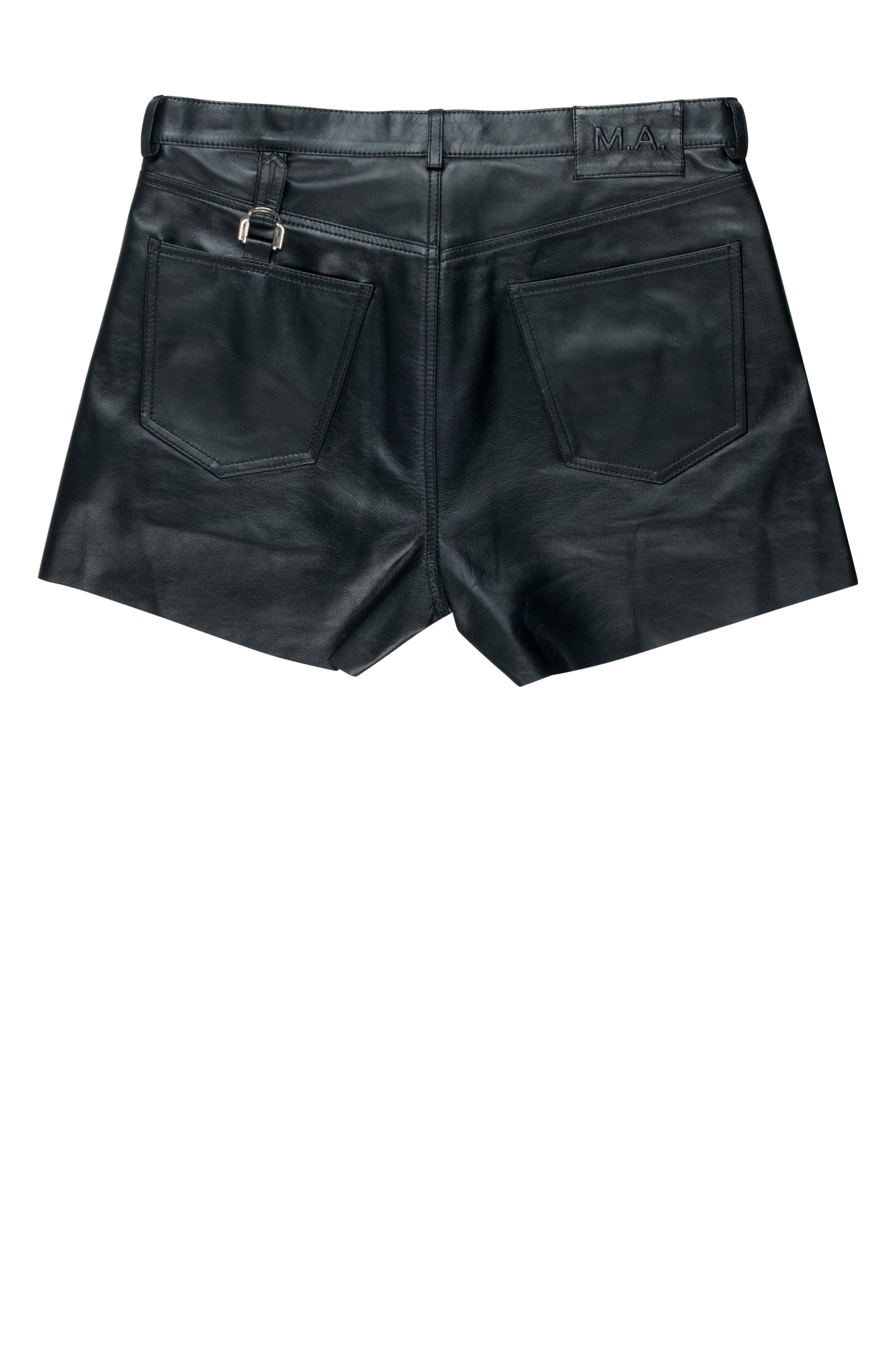 martin asbjørn ma menswear ss20 spring20 napa leather shorts black cinch strap detail