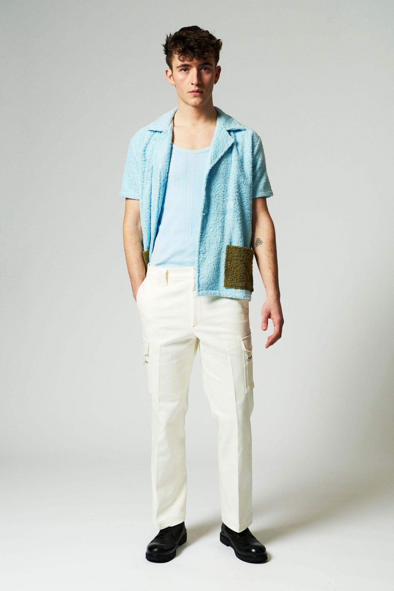 Martin Asbjorn off white canvas cargo trousers