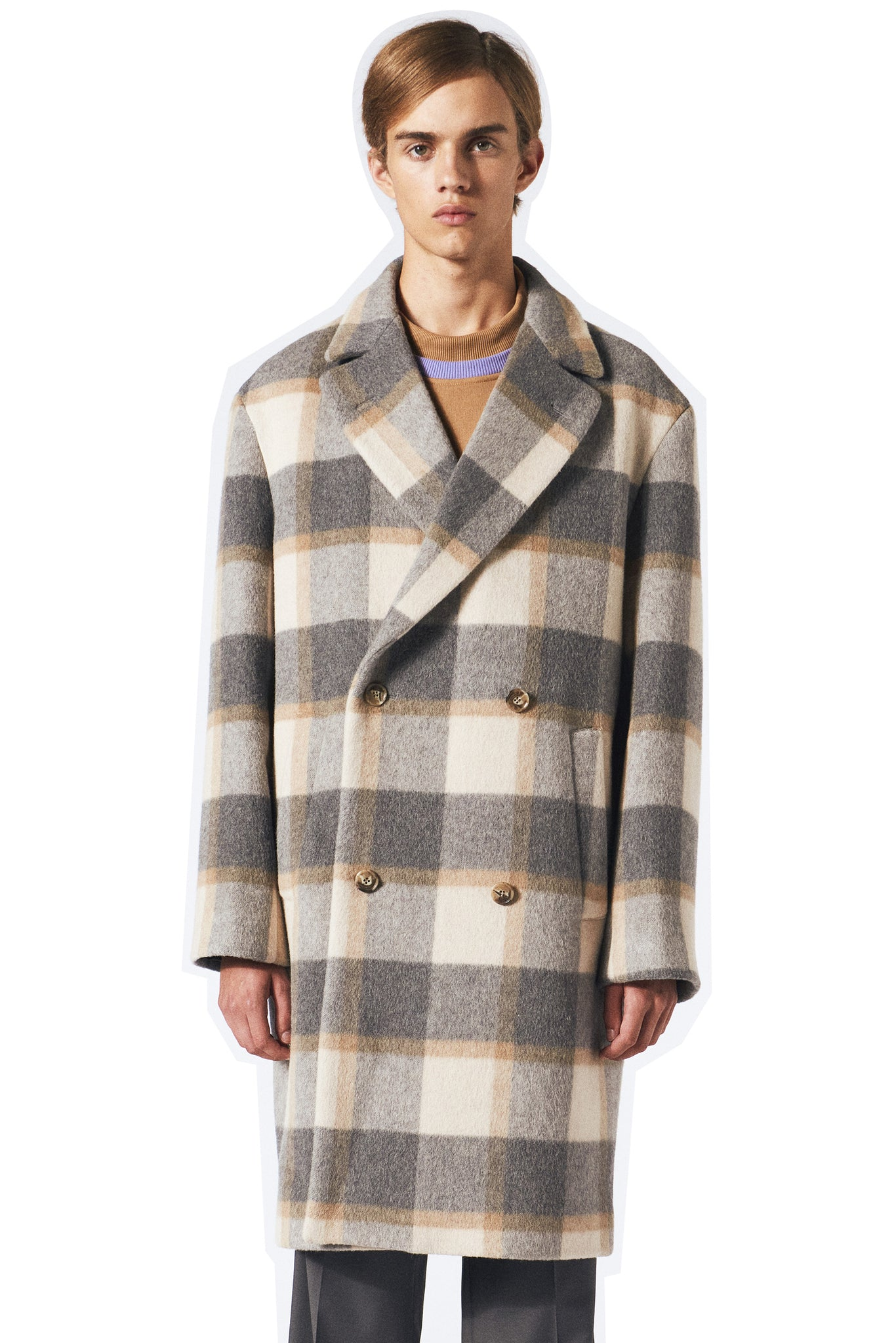 Martin Asbjørn Keith coat grey sand check