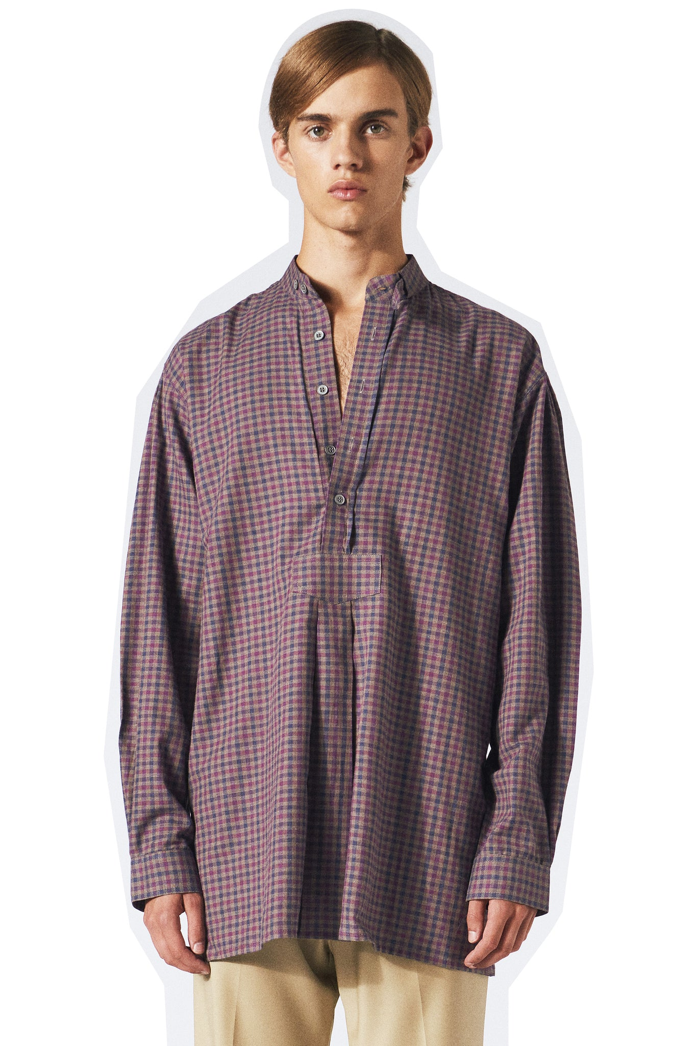purple check bib shirt from Martin Asbjorn