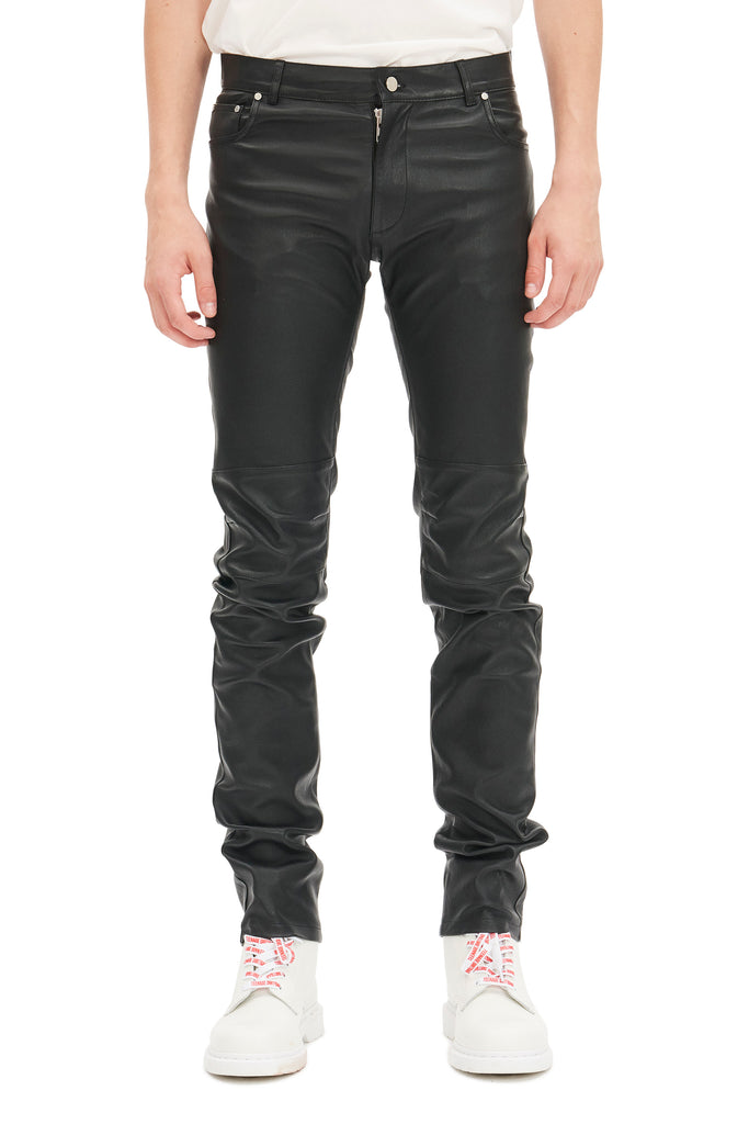 Slim-fit Leather Jeans / Black