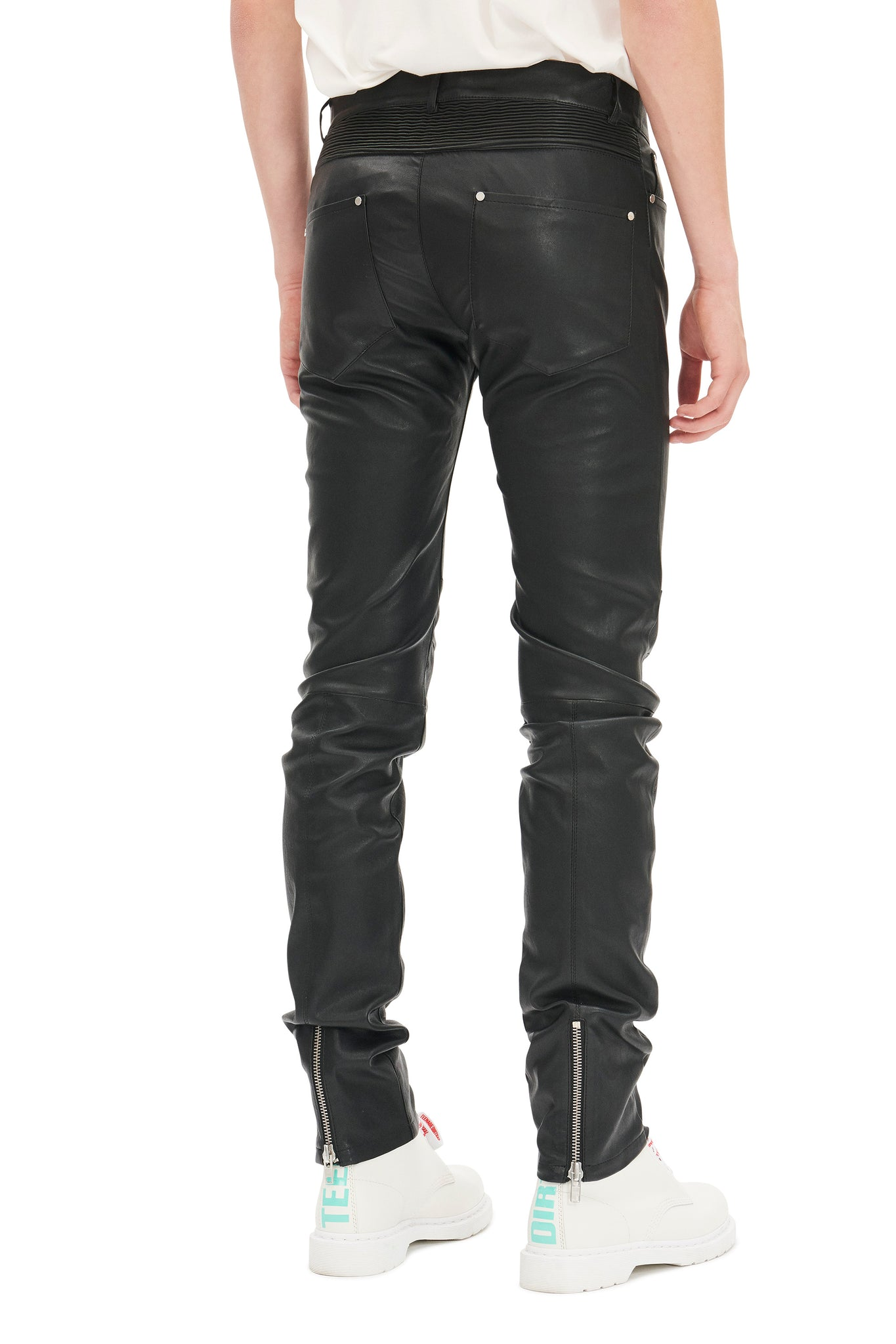 martin asbjørn slim-fit leather jeans classic collection menswear