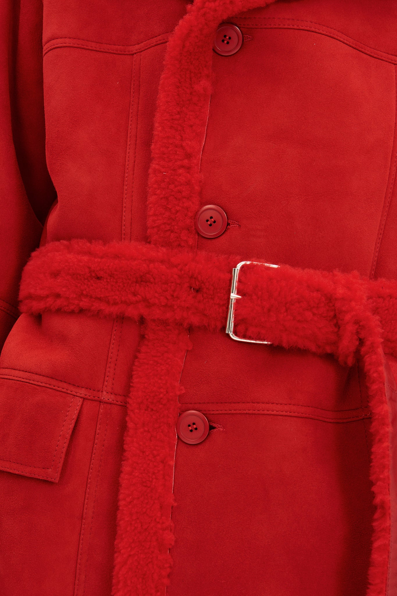 Danish Menswear Designer Martin Asbjørn - Red oversized Shearling Coat