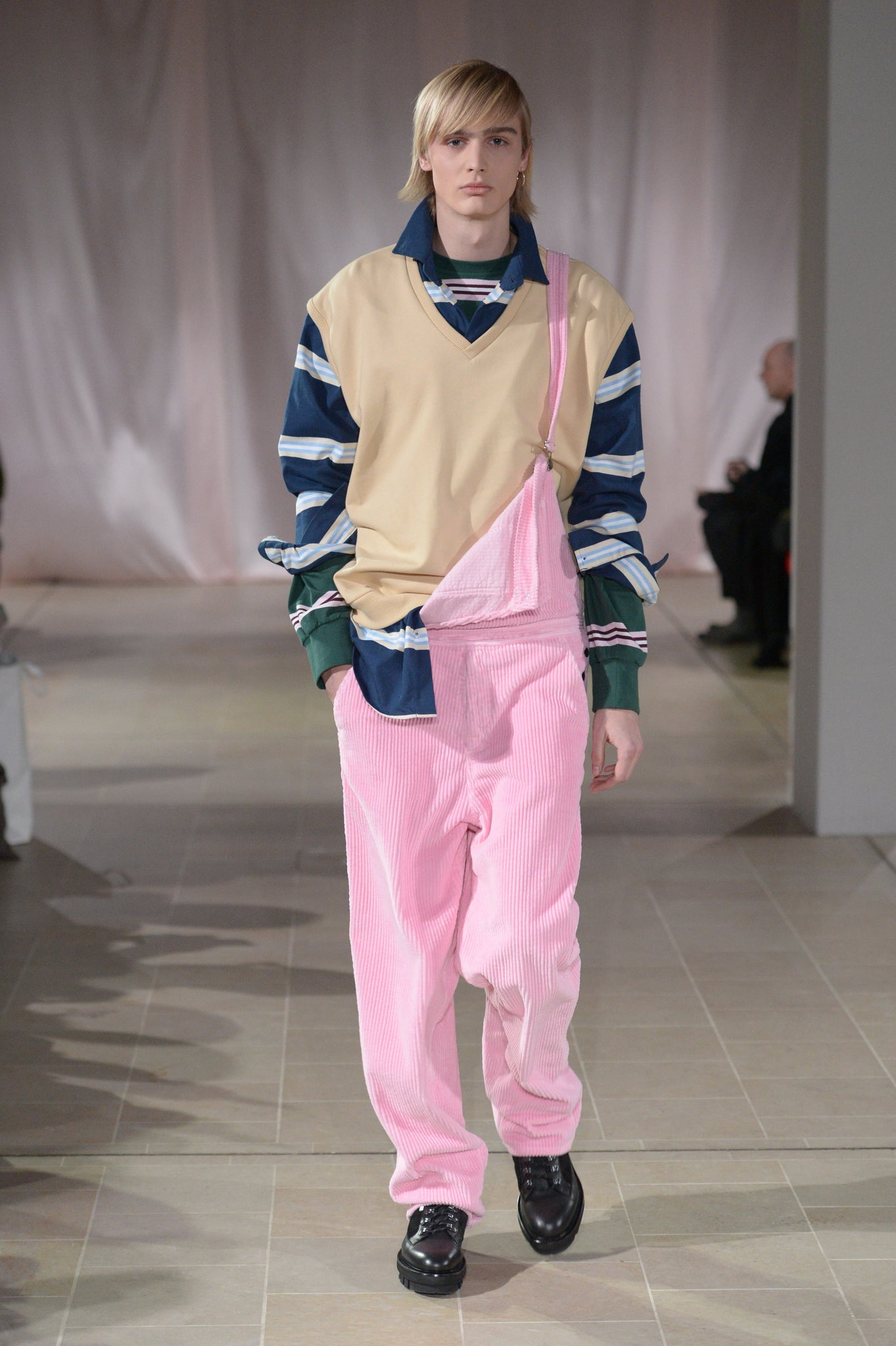 Martin Asbjorn Pink corduroy overalls for fall 19 collection Freedom