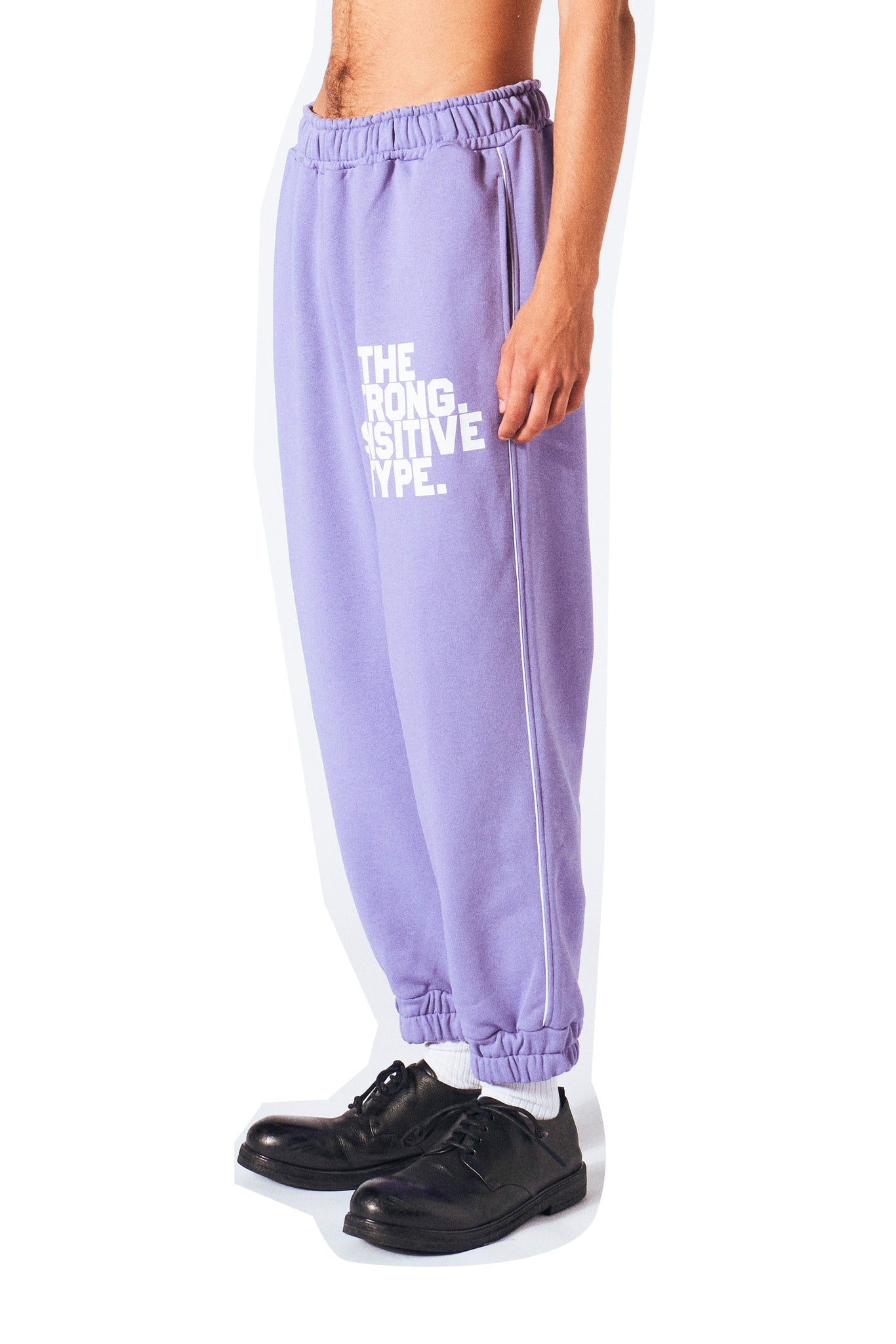 purple sweatpants from Martin Asbjørn the strong sensitive type