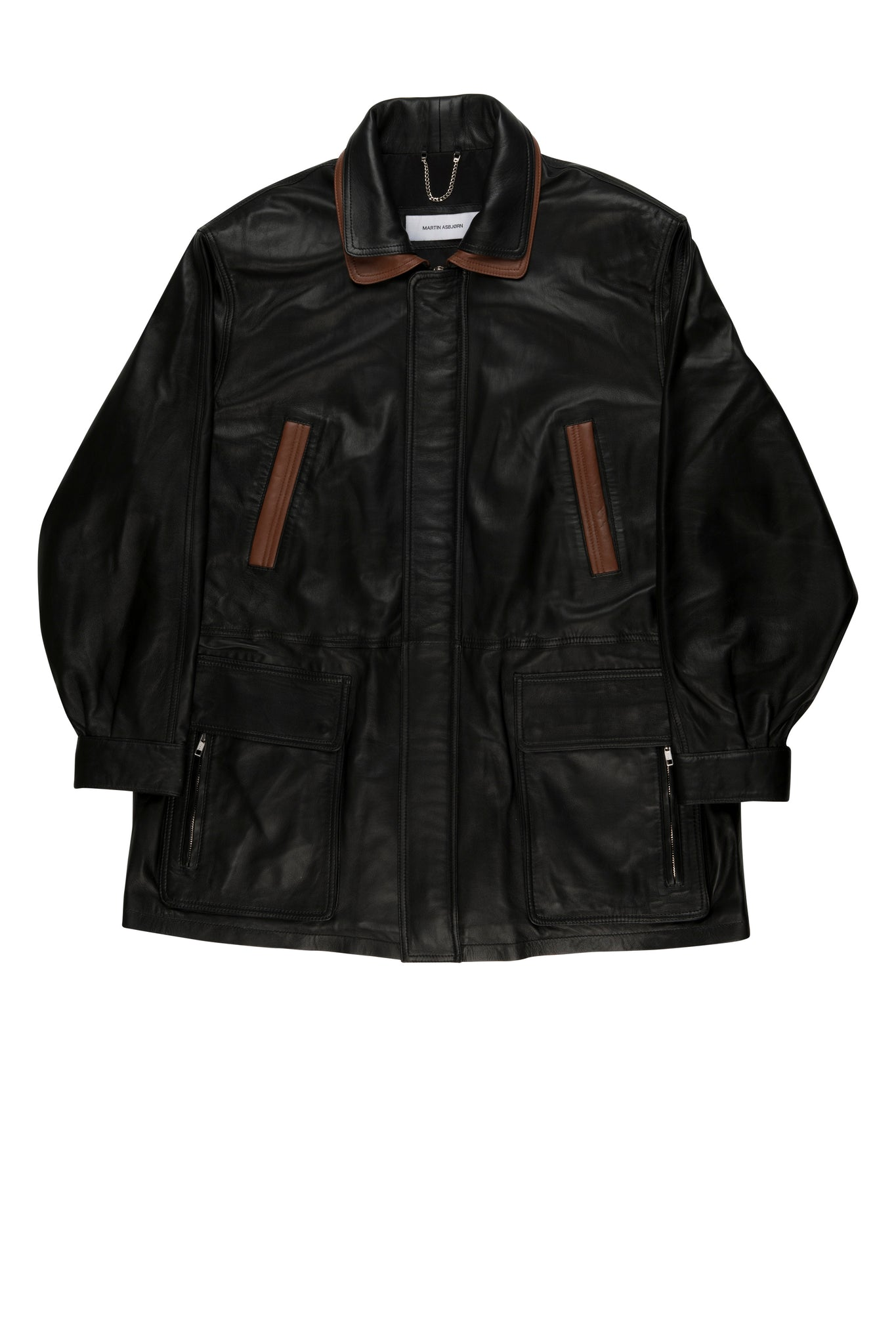 Martin Asbjørn Oversized Dad jacket in black nappa leather for men