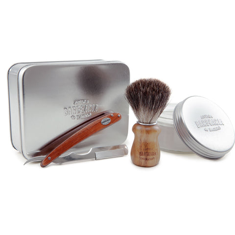 Shaving set with shaving razor, brush and soap 150g