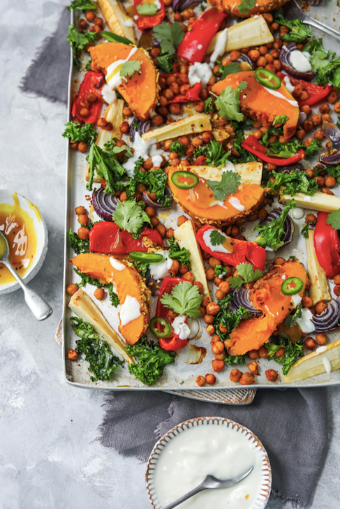 Vegan tray with oven roasted vegetables and butternut squash with Indian spices