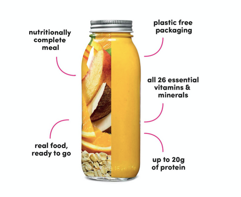 Glass bottle filled with fresh fruits