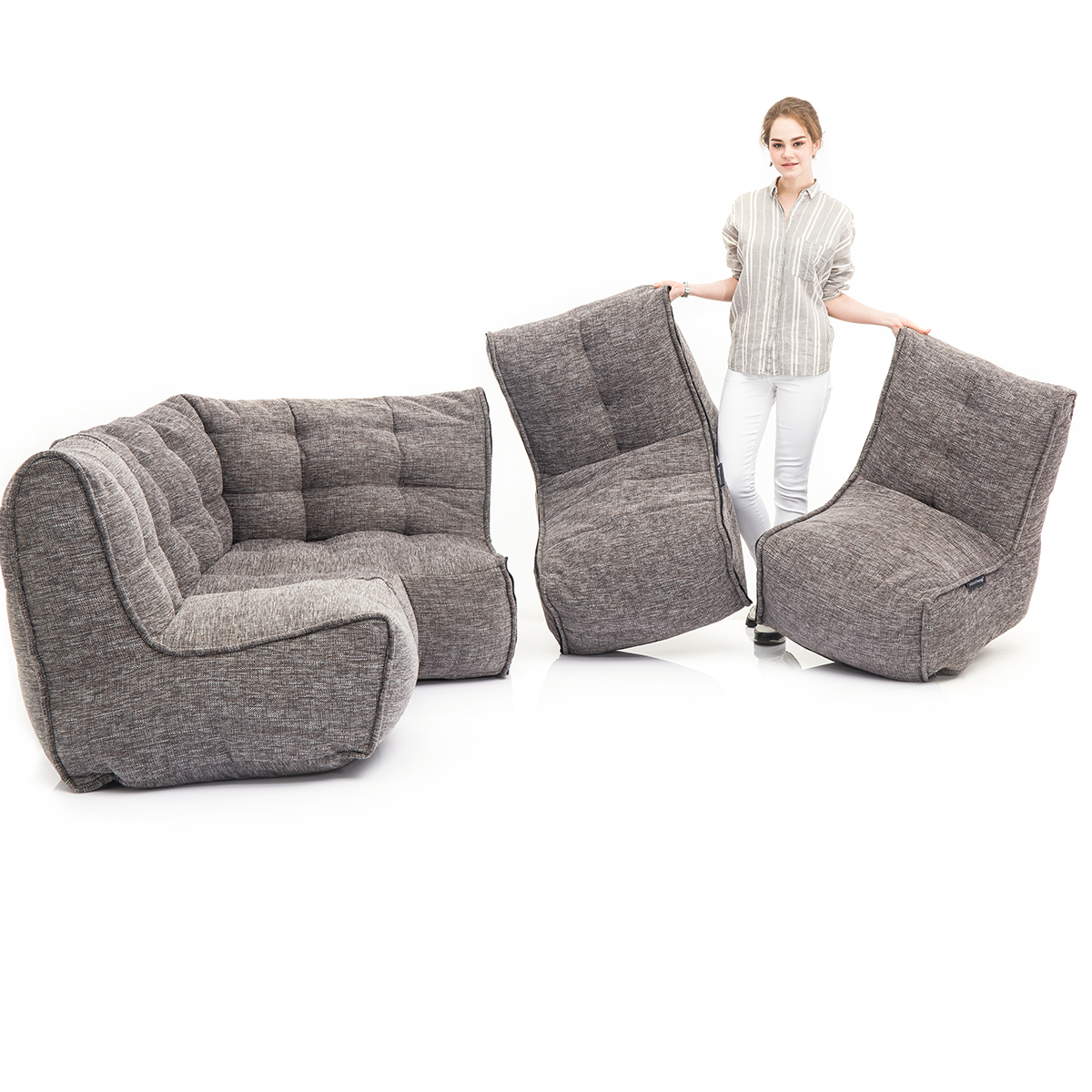 MODULAR bean bag sofas are lightweight and mobile (MOD 4 L Sofa configuration in Luscious Grey)