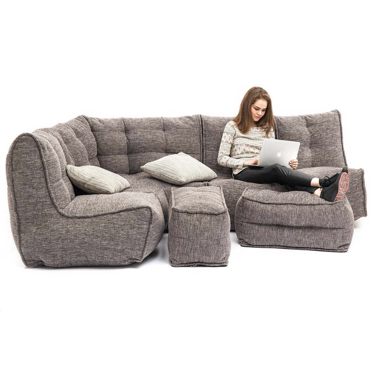 Settle into the body moulding comfort of MODULAR bean bag sofas (MOD 5 Living Lounge configuration in Luscious Grey)
