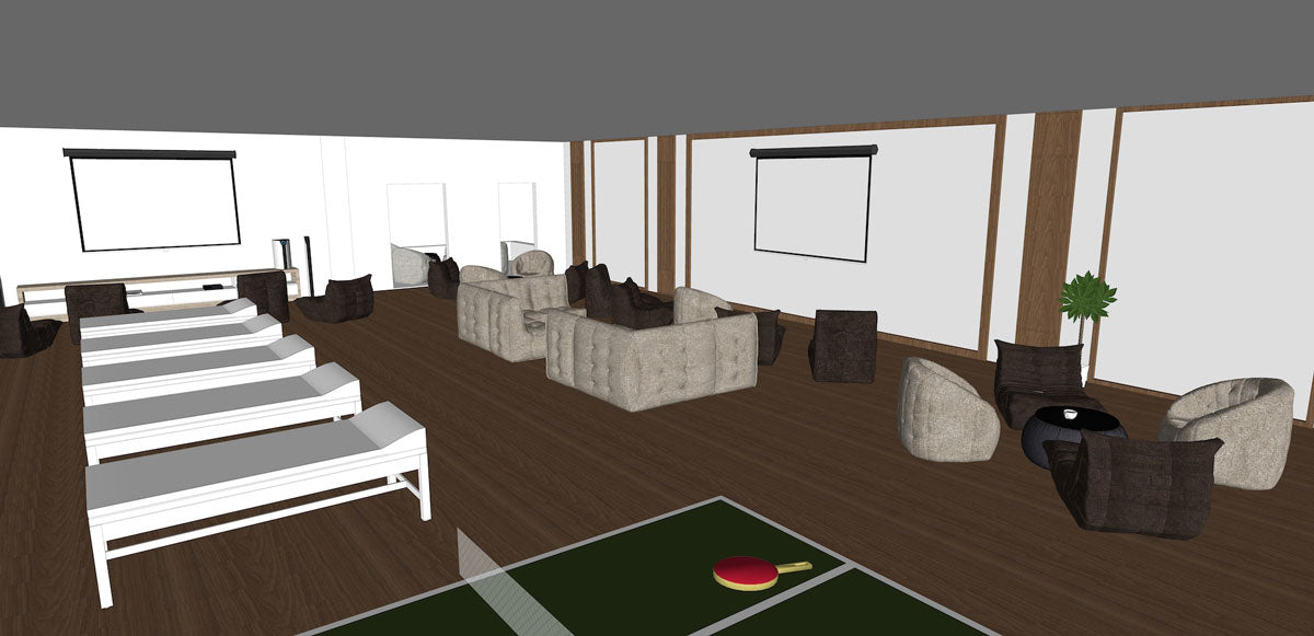 3D model: Bean bag sofas in England team hotel in Russia