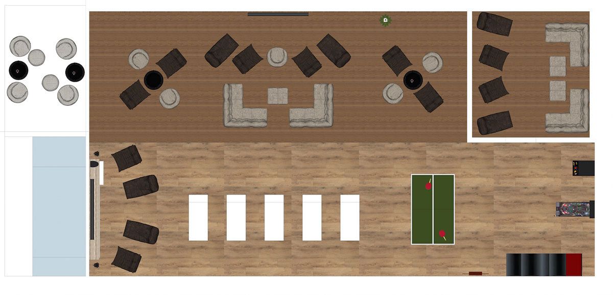 Floor plan: Bean bag sofas in England team hotel in Russia