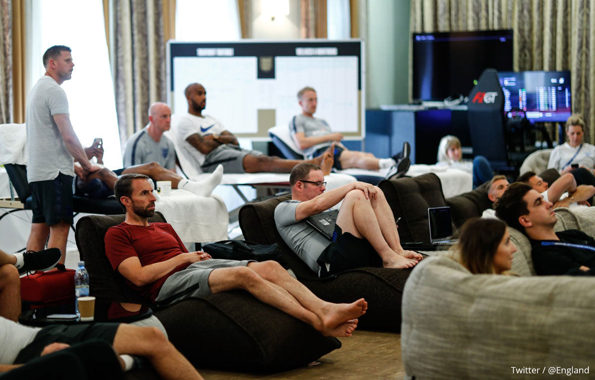 Ambient Lounge bean bag sofas in England team hotel in Russia