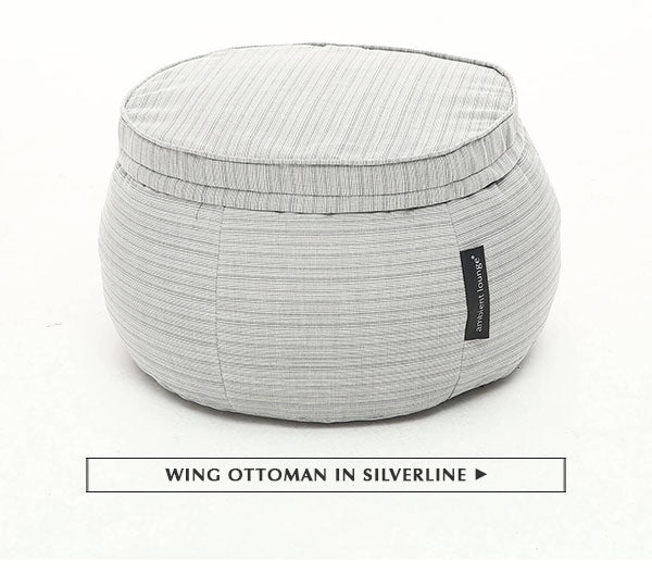 Wing Ottoman in Silverline (Waterproof, Indoor/Outdoor)