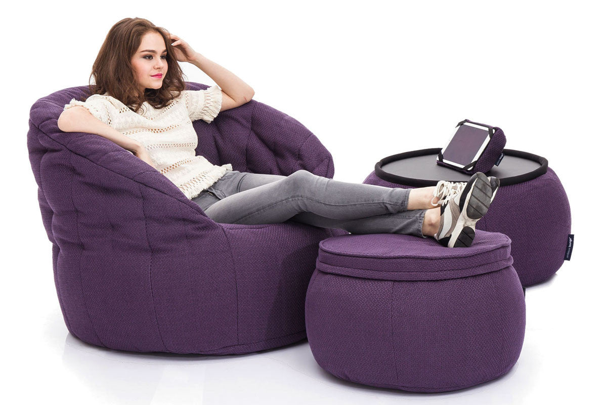 Superb Versa Table Bean Bag In Aubergine Dream Indoor Andrewgaddart Wooden Chair Designs For Living Room Andrewgaddartcom