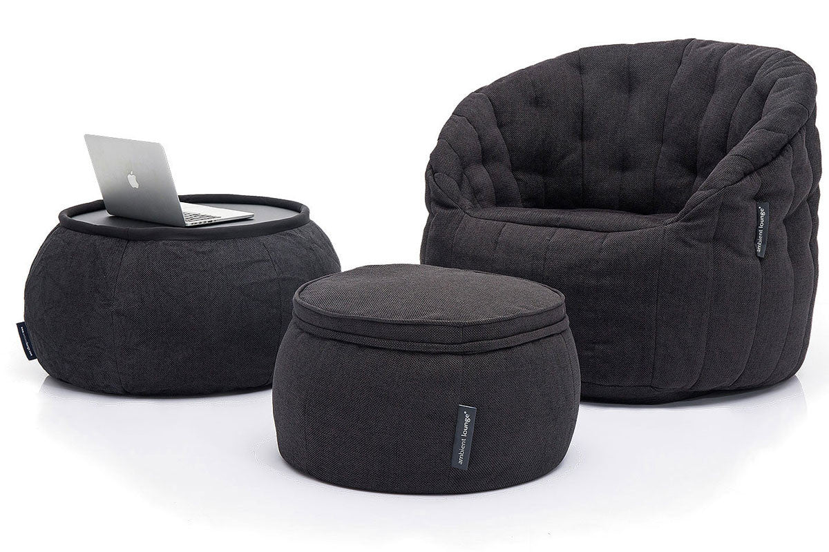 Versa Table Bean Bag In Black Sapphire Indoor