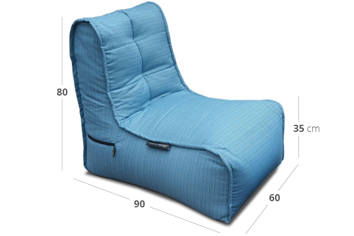 Evolution Sofa (Deluxe) Bean Bag in Oceana (In/Outdoor) Dimensions