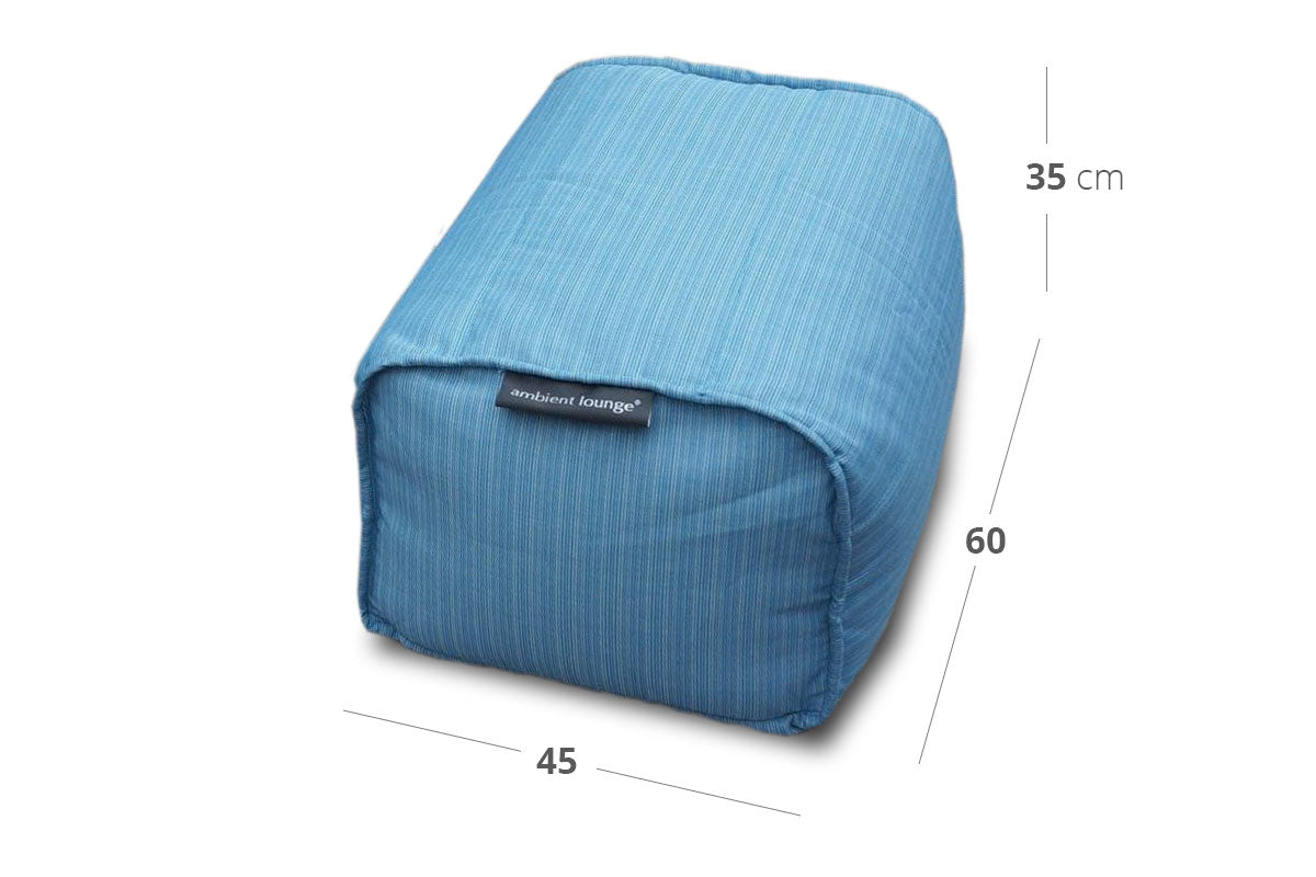 Ottoman (Deluxe) Bean Bag in Oceana (In/Outdoor) Dimensions