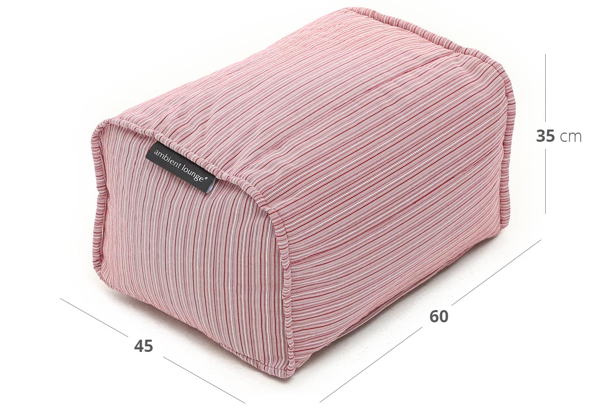 Ottoman (Deluxe) Bean Bag in Raspberry Polo (In/Outdoor) Dimensions