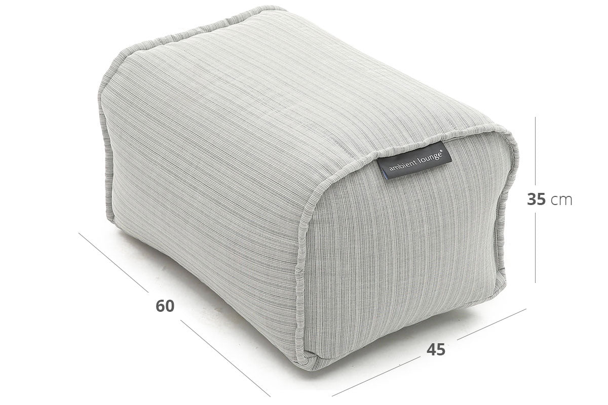 Ottoman (Deluxe) Bean Bag in Silverline (In/Outdoor) Dimensions