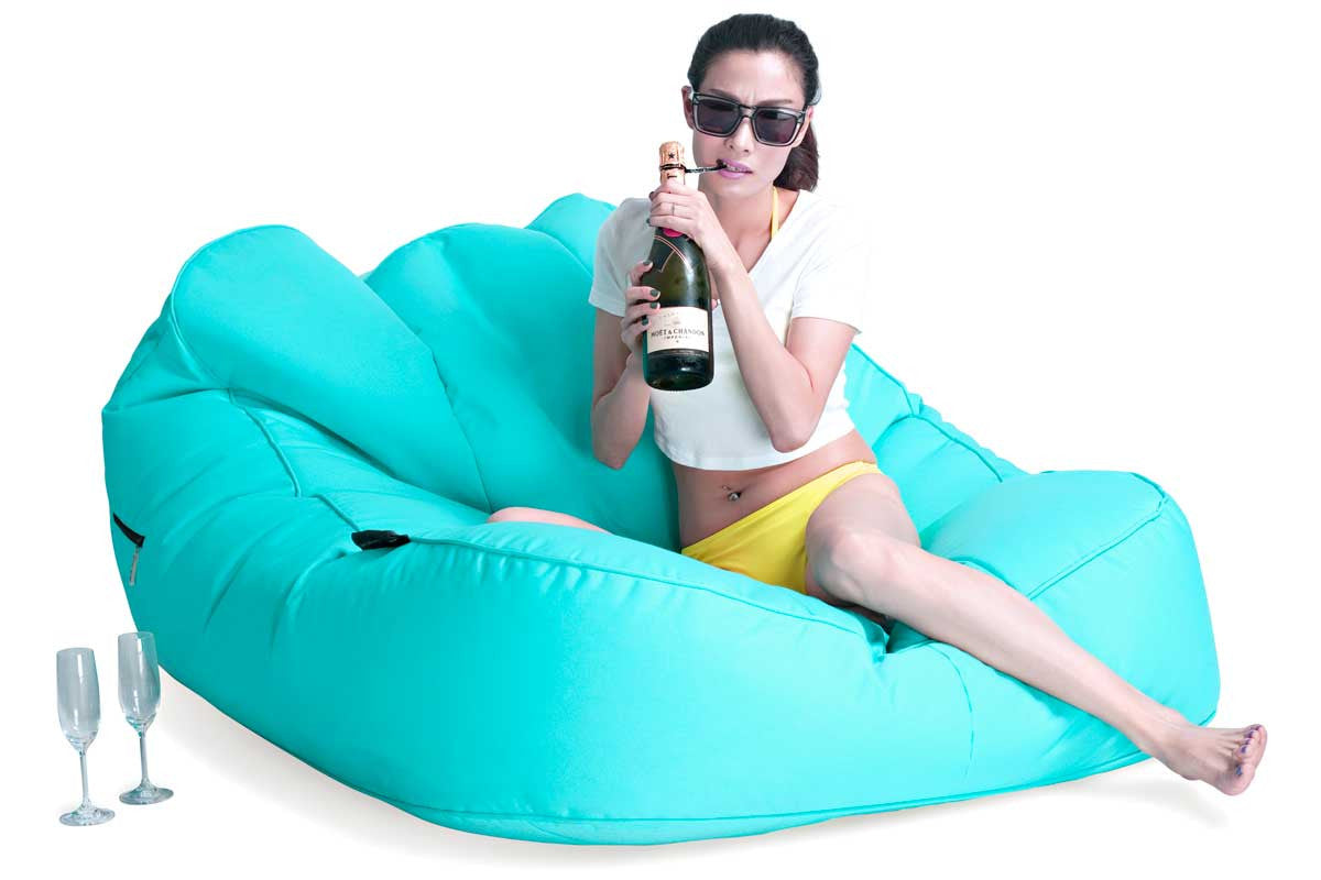 Blue 2 Seater Sun Lounger Large Outdoor Bean Bag Daybed