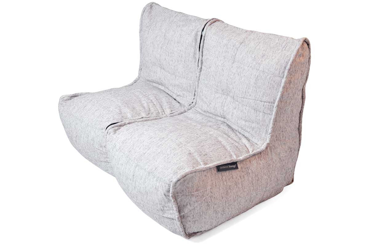 White Sofa Unzips To 2 Chairs Twin Couch Bean Bag