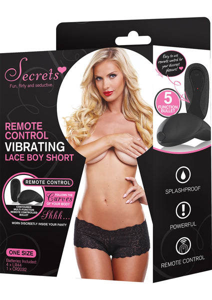 Secrets Vibrating Panties Lace Boyshort Black One Size VAT1