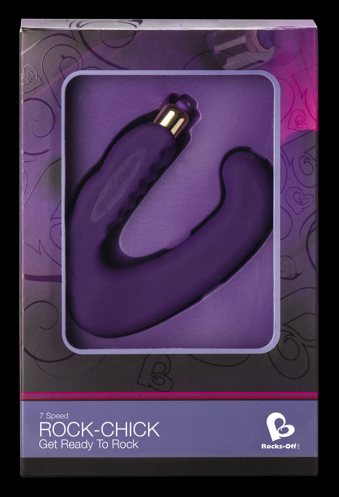 Rocks Off Rock Chick Dual Clitoral/G-Spot Vibrator Purple VAT2