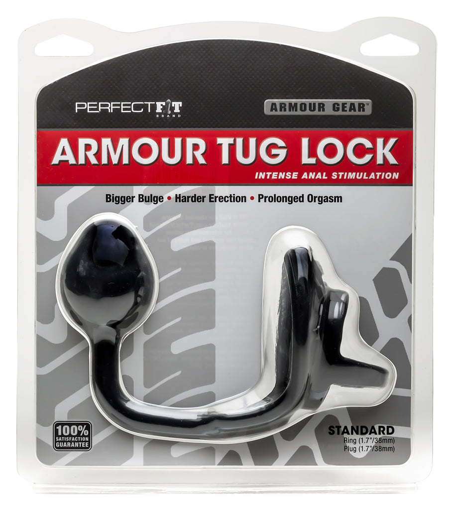PerfectFit Armour Tug Lock Cock Ring Black VAT2