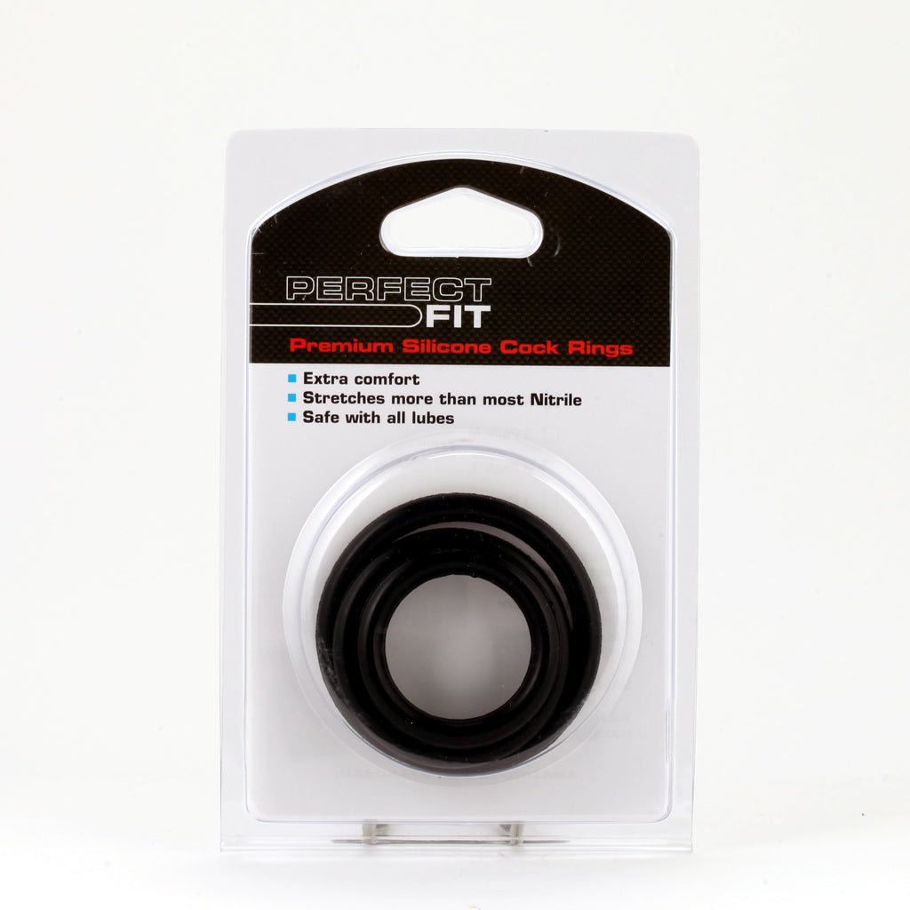 PerfectFit Silicone 3 Cock Rings Kit Mix Black VAT1