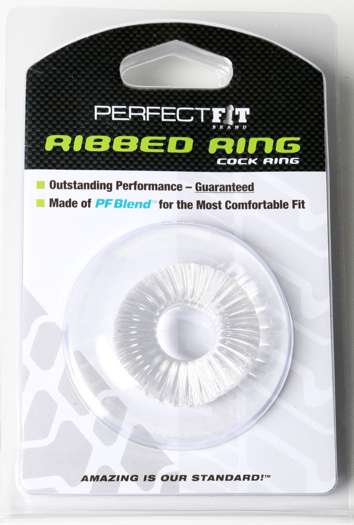 PerfectFit Ribbed Cock Ring Clear VAT1