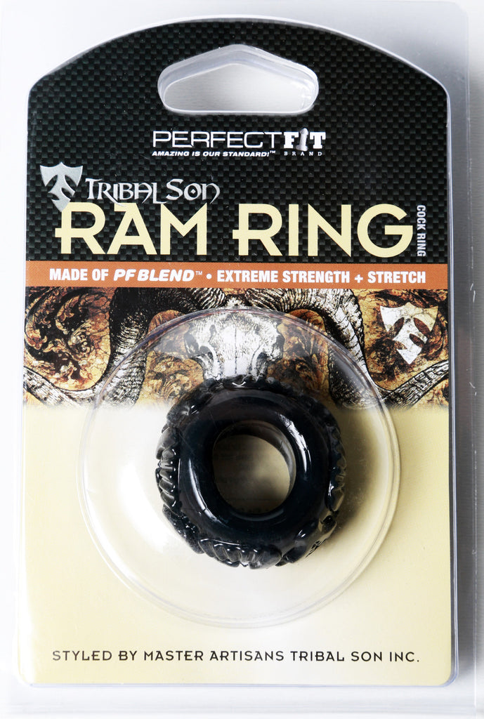 PerfectFit Tribal Son Ram Cock Ring Black VAT2