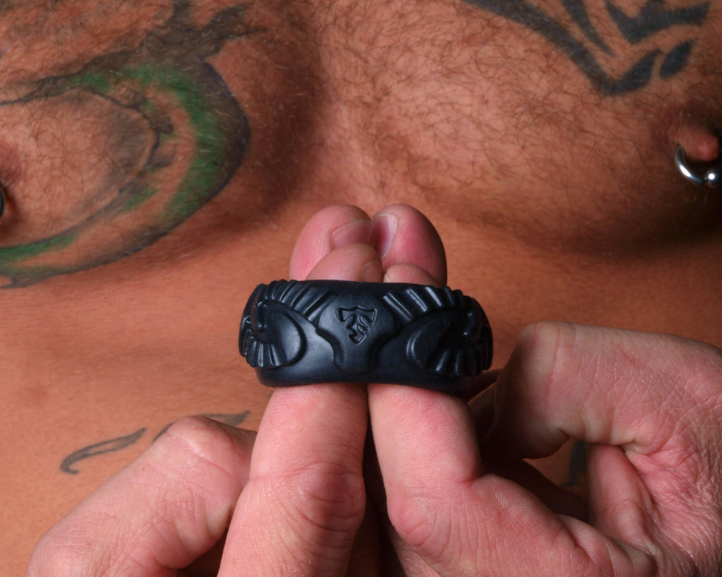 PerfectFit Tribal Son Ram Cock Ring Black VAT3