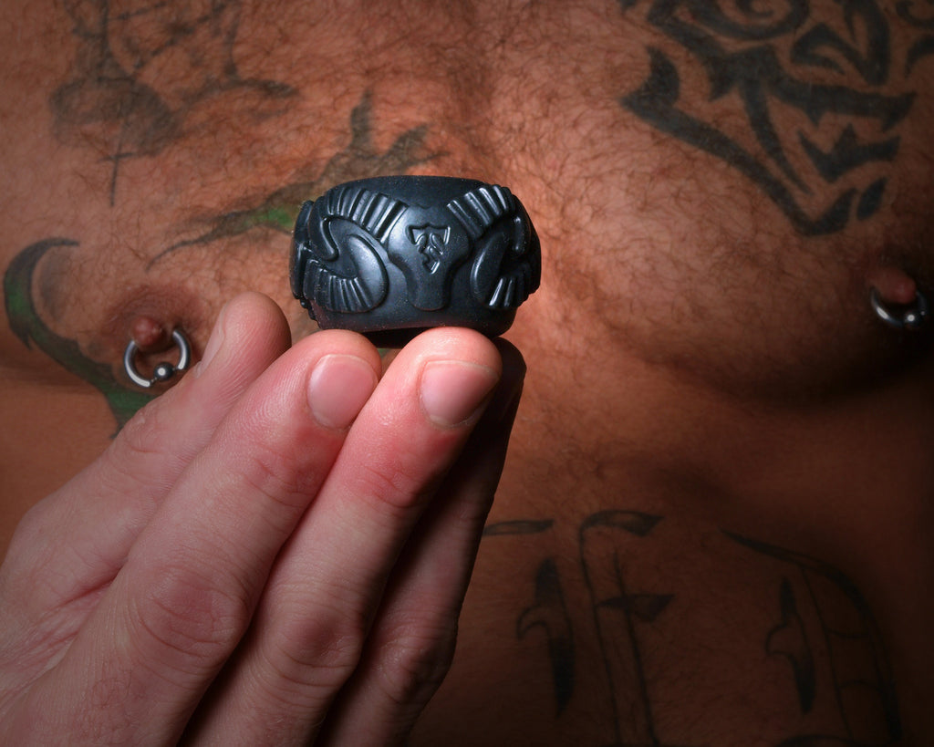 PerfectFit Tribal Son Ram Cock Ring Black VAT4