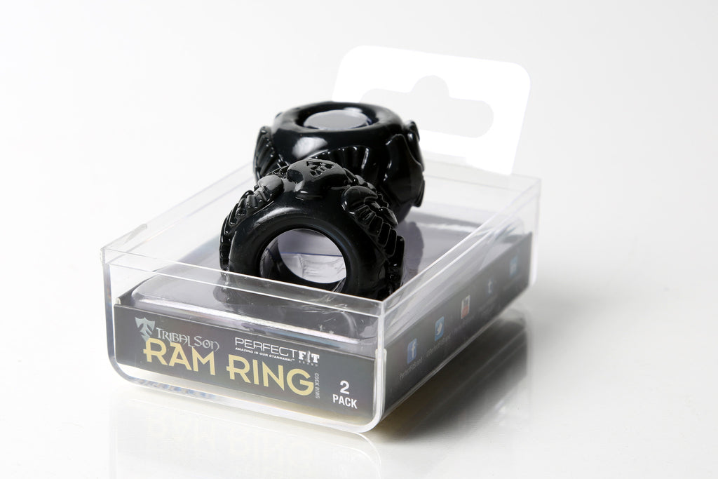 PerfectFit Tribal Son Ram Double Cock Ring Black VAT2