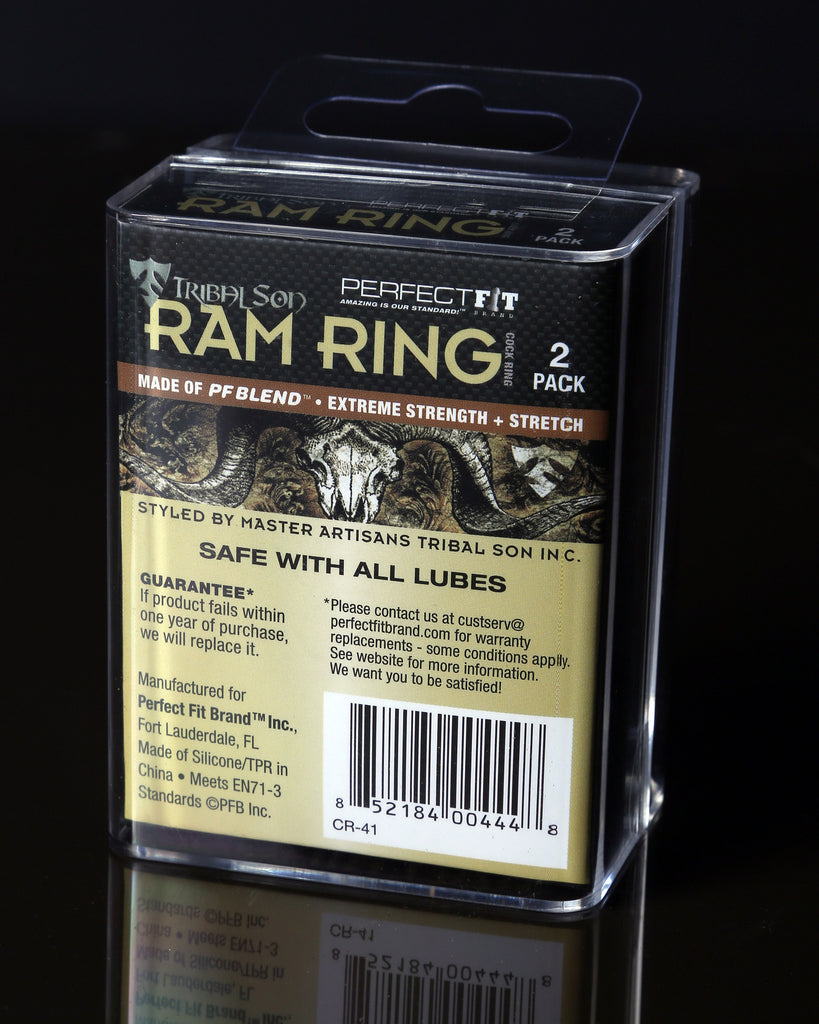 PerfectFit Tribal Son Ram Double Cock Ring Black VAT5