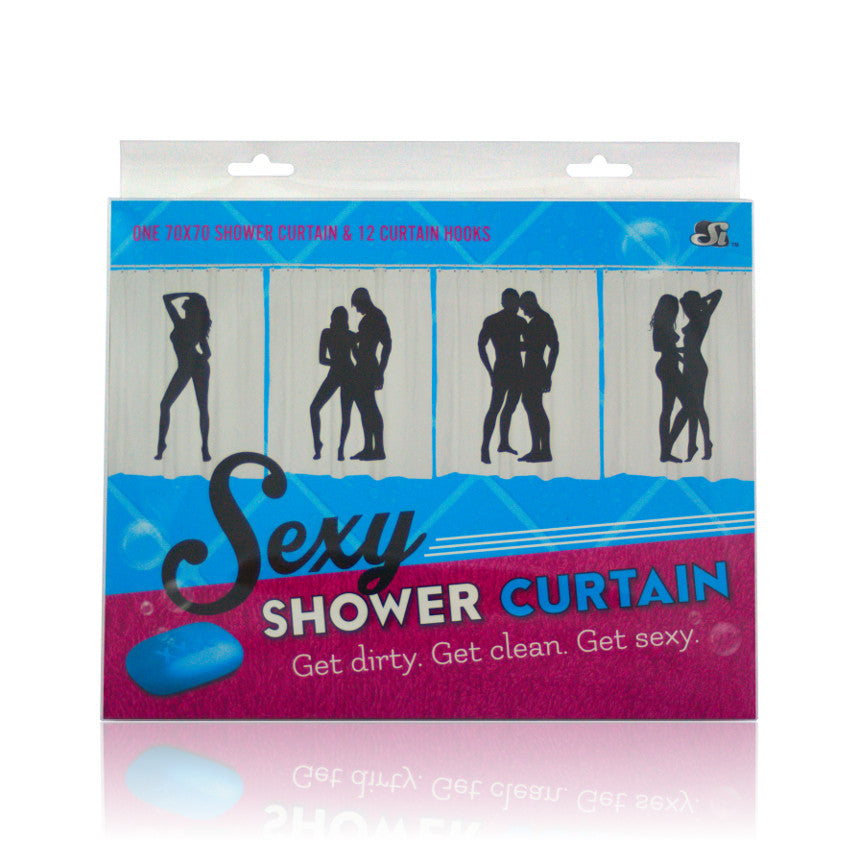 Si Novelties Sexy Shower Curtain Male/Male Grey VAT2