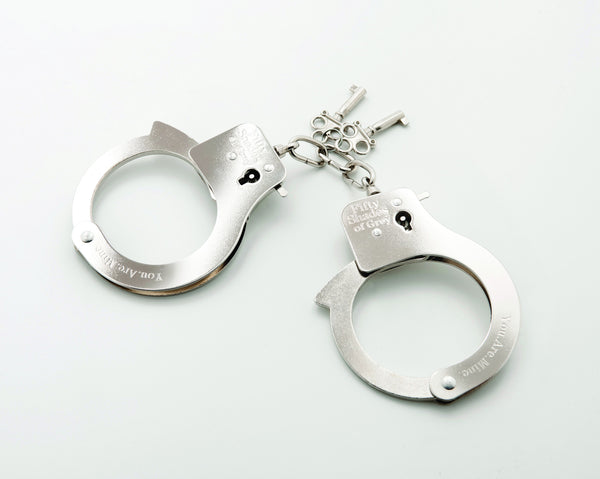Fifty Shades of Grey- You Are Mine, Silver Metal Hand Cuffs - VAT - 1
