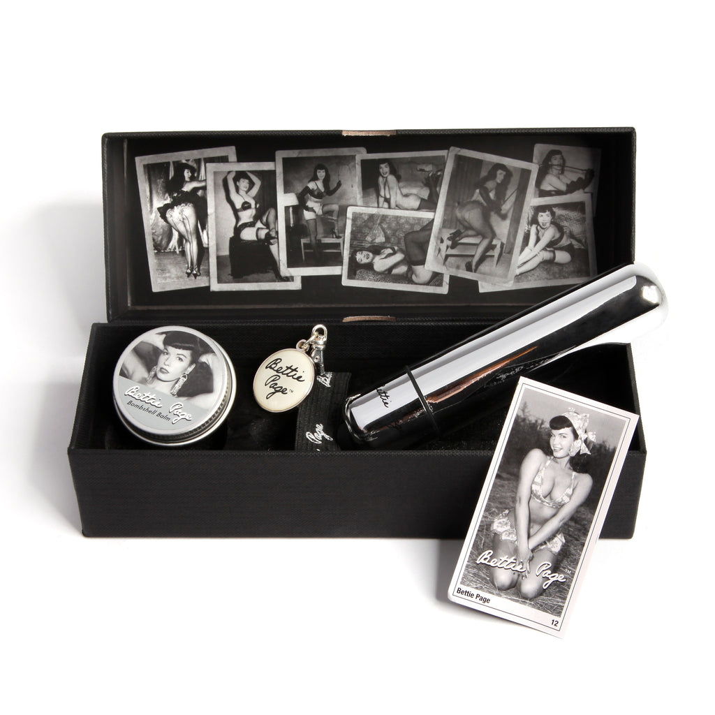 Bettie Page- Buzzin Bullet and Balm Set Inside Collectors Box