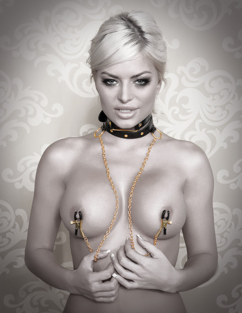 PipeDream Fetish Fantasy Gold Collar Nipple Clamps Black- VAT4