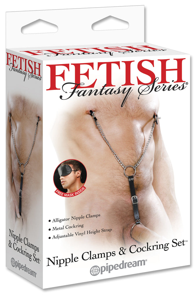 PipeDream Fetish Fantasy Nipple Clamps and Cockring Set- VAT