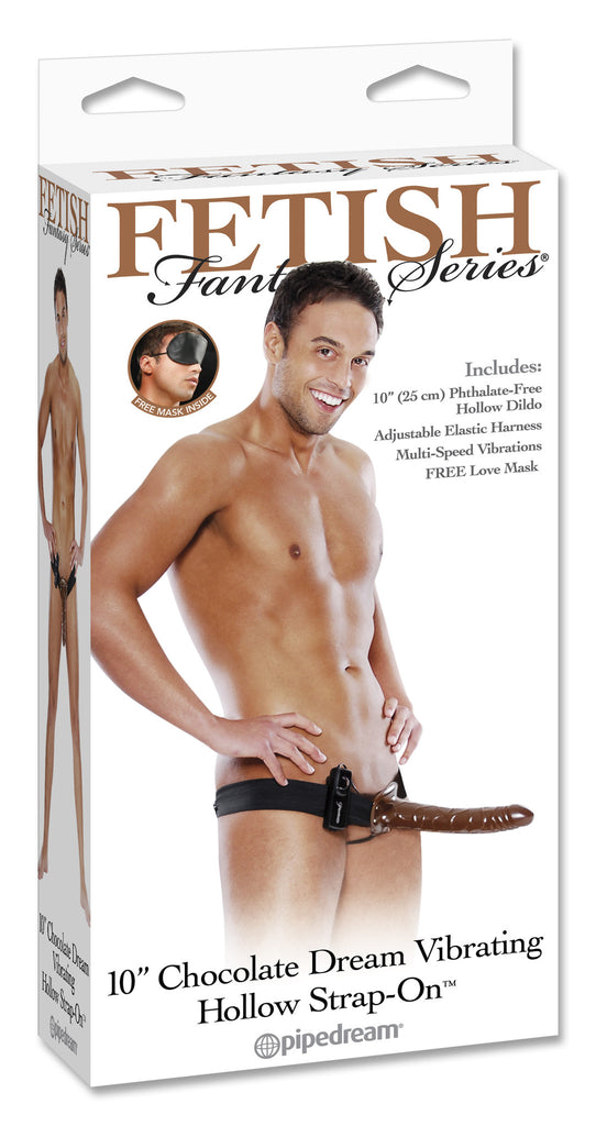 "PipeDream Fetish Fantasy Chocolate Dream Vibrating Hollow Strap On 10""- VAT"