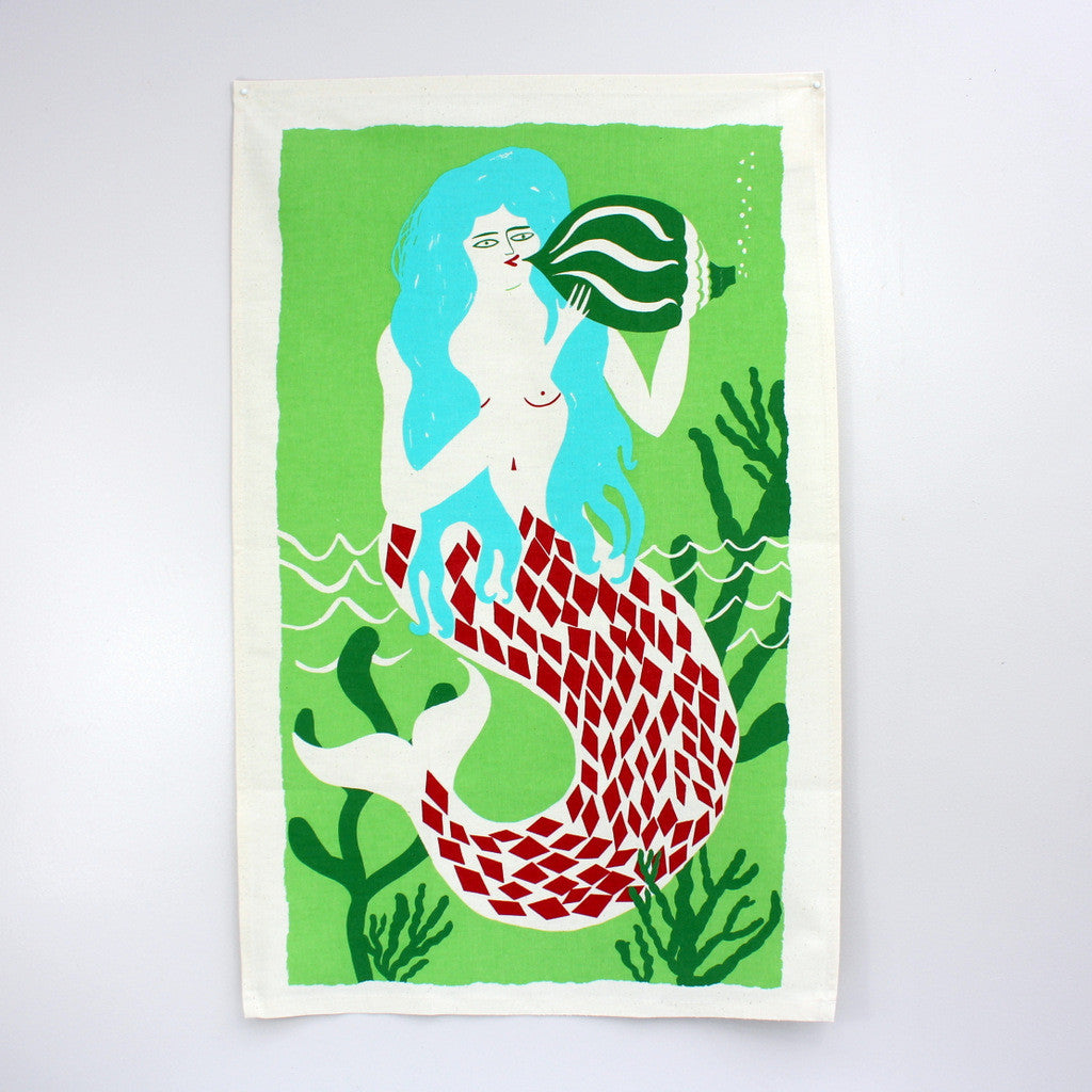 Mermaid tea towel