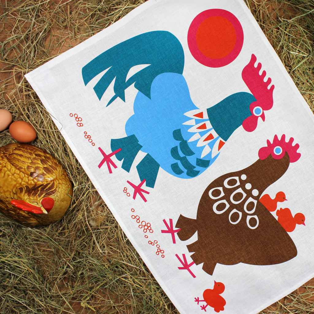 Chickens tea towel